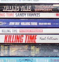 Spines of books titled killing time